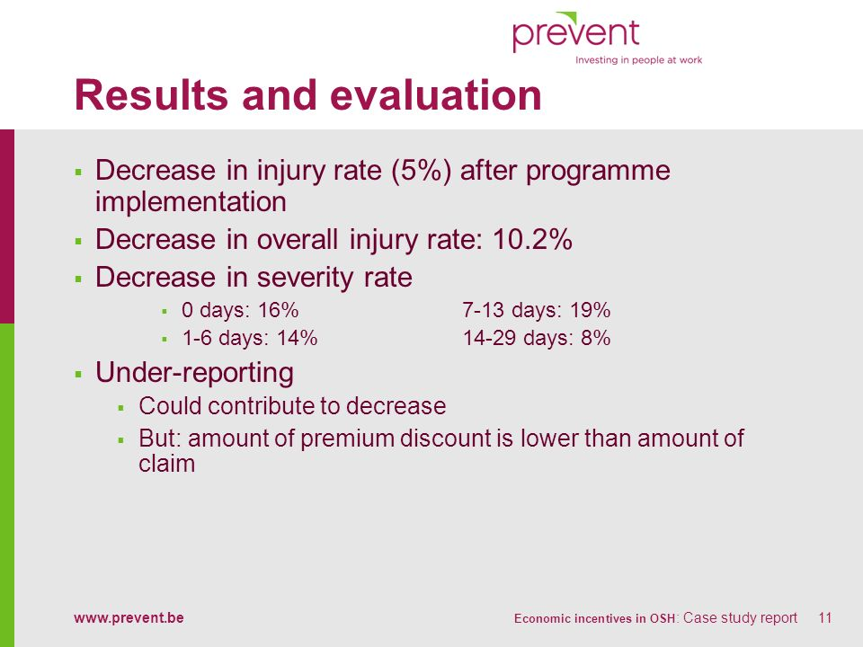 www.prevent.be Economic incentives in OSH : Case study report11 Results and evaluation Decrease in injury rate (5%) after programme implementation Dec