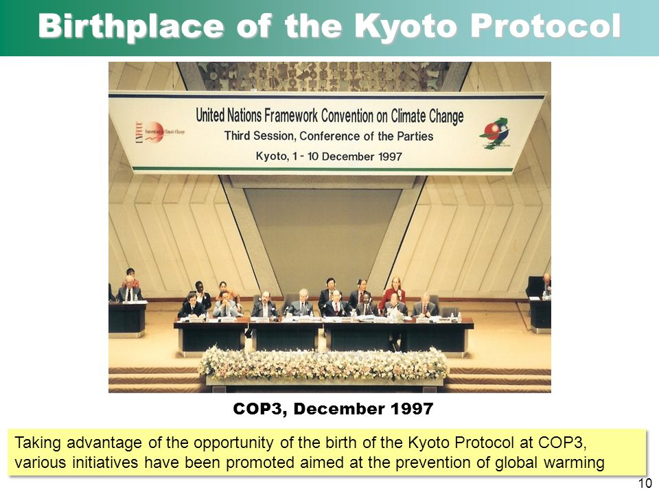 Birthplace of the Kyoto Protocol COP3, December 1997 10 Taking advantage of the opportunity of the birth of the Kyoto Protocol at COP3, various initiatives have been promoted aimed at the prevention of global warming