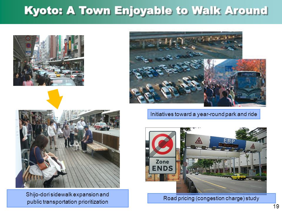 19 Shijo-dori sidewalk expansion and public transportation prioritization Road pricing (congestion charge) study Initiatives toward a year-round park and ride Kyoto: A Town Enjoyable to Walk Around Kyoto: A Town Enjoyable to Walk Around