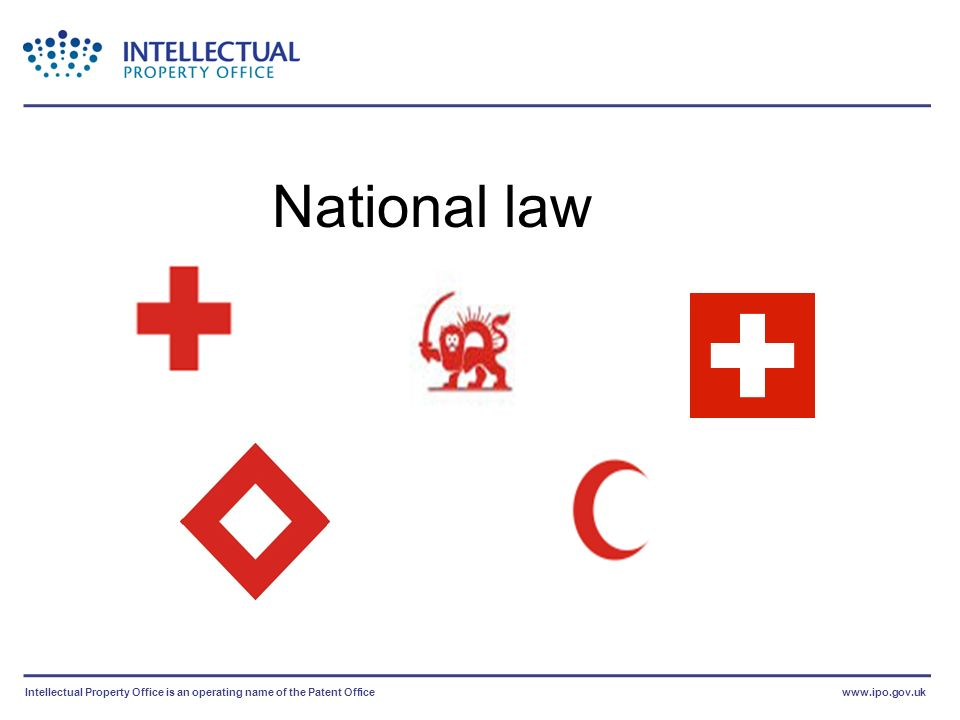 Intellectual Property Office is an operating name of the Patent Officewww.ipo.gov.uk National law