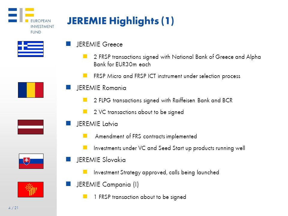 34 JEREMIE Malta Holding Fund amount EUR 10m Market consultation for FLPG completed EIF Board approval for the FLPG instrument & negotiation with FI Signature with Bank of Valetta for the FLPG instrument in April 2011 Quasi-equity Debt Other instruments Equity ExpansionEarly stageStart-up Business Angels Risk Capital Micro Finance / Funded Risk-Sharing Products Guarantee / Structured Portfolio Operations Mezzanine Funds Technology Transfer Funding