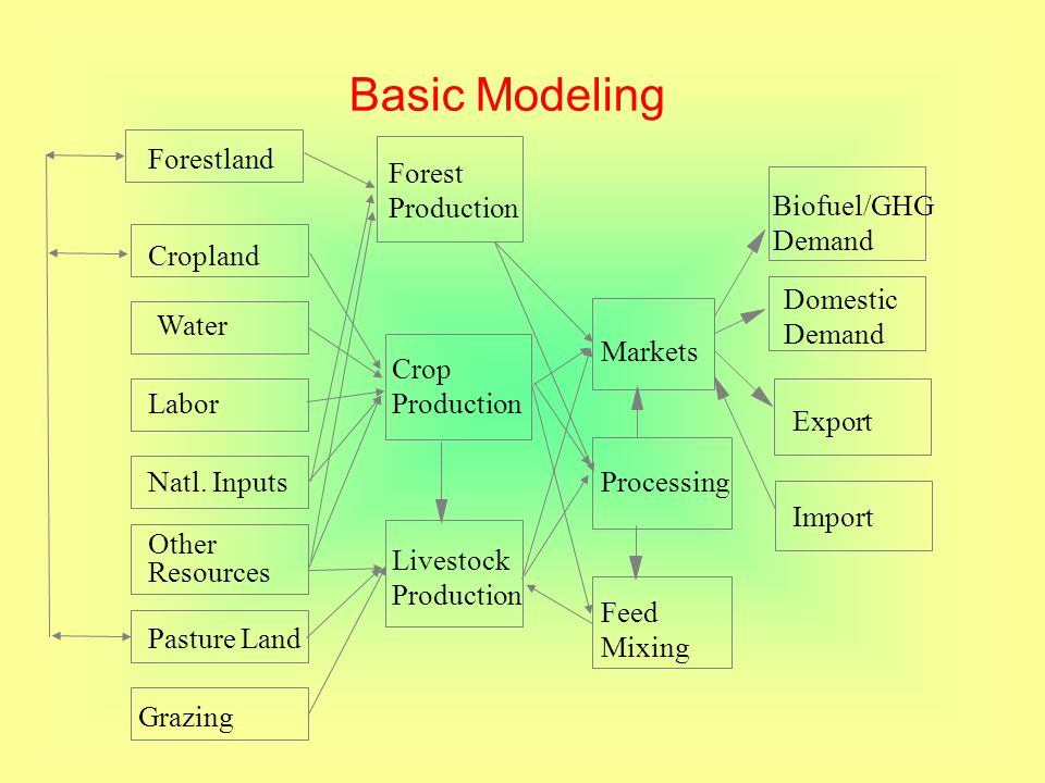 Basic Modeling Processing Markets Feed Mixing Other Resources Grazing Labor Pasture Land Natl. Inputs Forestland Water Livestock Production Crop Produ