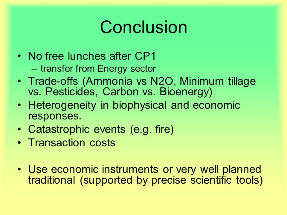Conclusion No free lunches after CP1 –transfer from Energy sector Trade-offs (Ammonia vs N2O, Minimum tillage vs. Pesticides, Carbon vs. Bioenergy) He