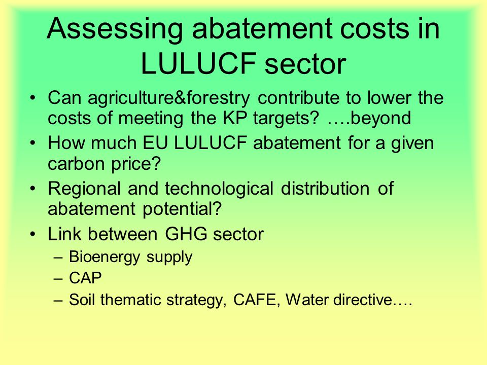 Assessing abatement costs in LULUCF sector Can agriculture&forestry contribute to lower the costs of meeting the KP targets.