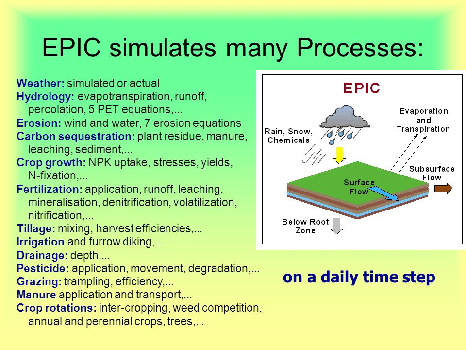 EPIC simulates many Processes: on a daily time step Weather: simulated or actual Hydrology: evapotranspiration, runoff, percolation, 5 PET equations,...