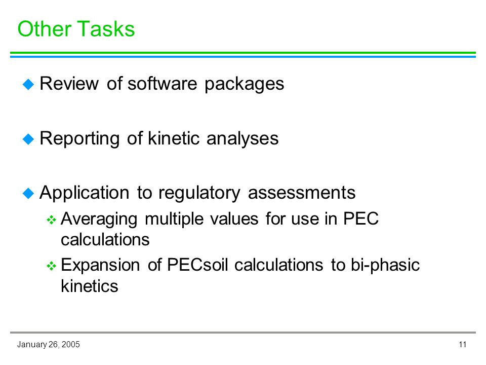 11January 26, 2005 Other Tasks u Review of software packages u Reporting of kinetic analyses u Application to regulatory assessments v Averaging multiple values for use in PEC calculations v Expansion of PECsoil calculations to bi-phasic kinetics