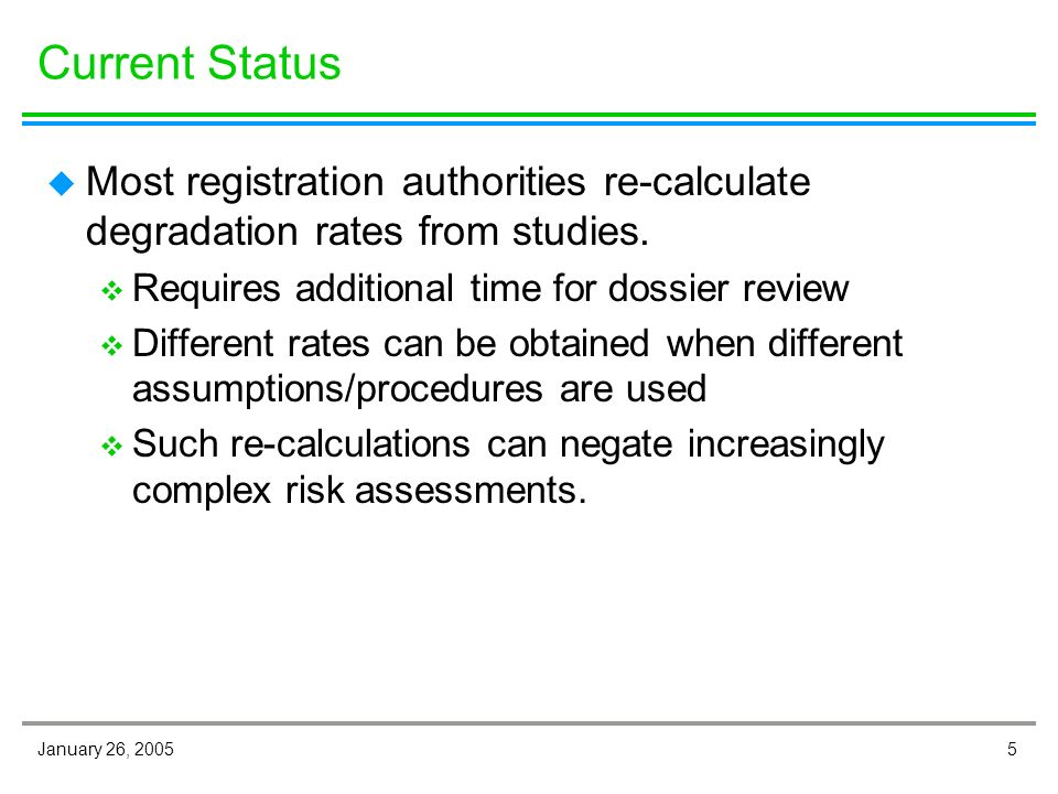 5January 26, 2005 Current Status u Most registration authorities re-calculate degradation rates from studies.