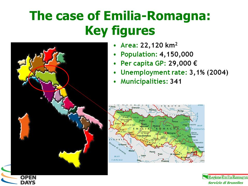 Servizio di Bruxelles The case of Emilia-Romagna: Key figures Area: 22,120 km 2 Population: 4,150,000 Per capita GP: 29,000 Unemployment rate: 3,1% (2004) Municipalities: 341
