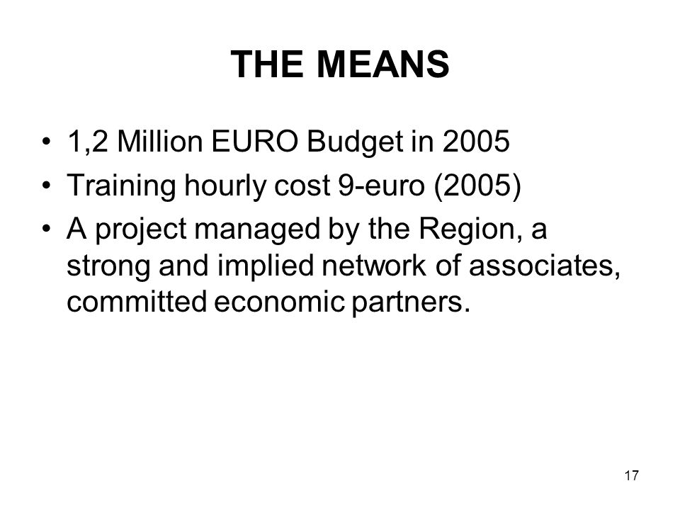 17 THE MEANS 1,2 Million EURO Budget in 2005 Training hourly cost 9-euro (2005) A project managed by the Region, a strong and implied network of associates, committed economic partners.