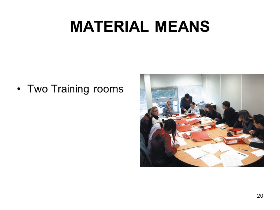 20 MATERIAL MEANS Two Training rooms
