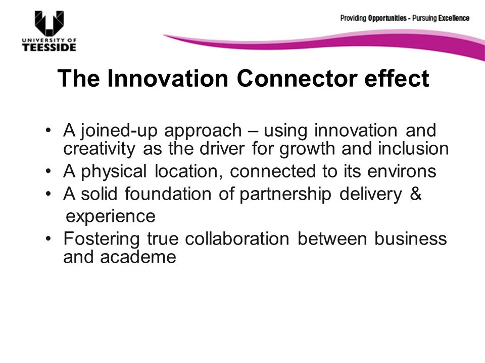 The Innovation Connector effect A joined-up approach – using innovation and creativity as the driver for growth and inclusion A physical location, con