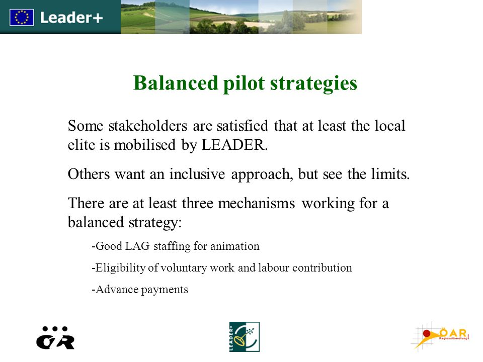 Balanced pilot strategies Some stakeholders are satisfied that at least the local elite is mobilised by LEADER. Others want an inclusive approach, but