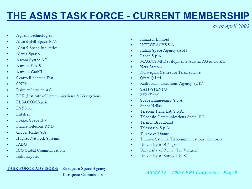 THE ASMS TASK FORCE - CURRENT MEMBERSHIP as at April 2002 Agilent Technologies Alcatel Bell Space N.V. Alcatel Space Industries Alenia Spazio Ascom Sy