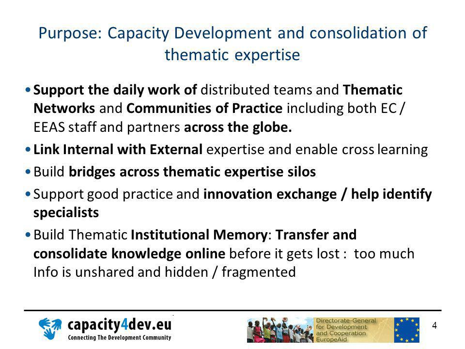Purpose: Capacity Development and consolidation of thematic expertise Support the daily work of distributed teams and Thematic Networks and Communitie