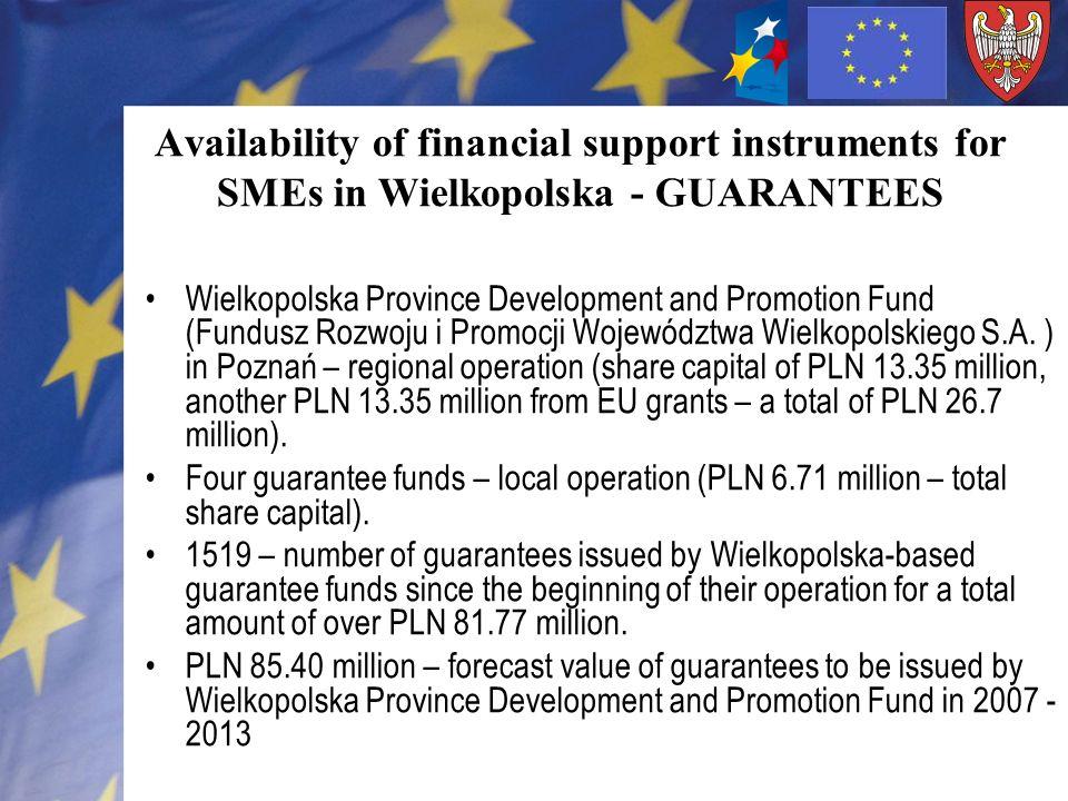 Availability of financial support instruments for SMEs in Wielkopolska - LOANS Wielkopolska Agency For Enterprise Development (Wielkopolska Agencja Rozwoju Przedsiębiorczości Sp.
