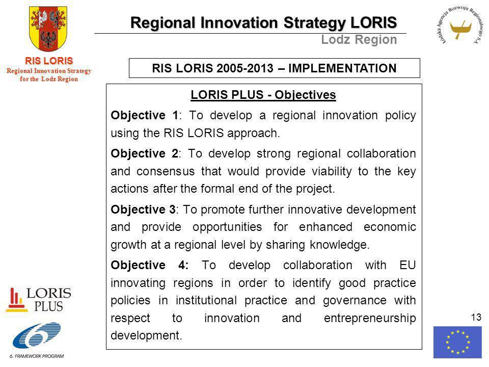 Regional Innovation Strategy LORIS Lodz Region RIS LORIS Regional Innovation Strategy for the Lodz Region 13 LORIS PLUS - Objectives Objective 1: To develop a regional innovation policy using the RIS LORIS approach.