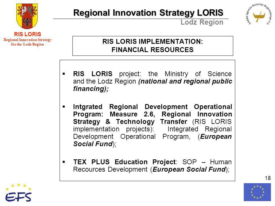 Regional Innovation Strategy LORIS Lodz Region RIS LORIS Regional Innovation Strategy for the Lodz Region 18 RIS LORIS IMPLEMENTATION: FINANCIAL RESOURCES RIS LORIS project: the Ministry of Science and the Lodz Region (national and regional public financing); Intgrated Regional Development Operational Program: Measure 2.6, Regional Innovation Strategy & Technology Transfer (RIS LORIS implementation projects): Integrated Regional Development Operational Program, (European Social Fund); TEX PLUS Education Project: SOP – Human Recources Development (European Social Fund);