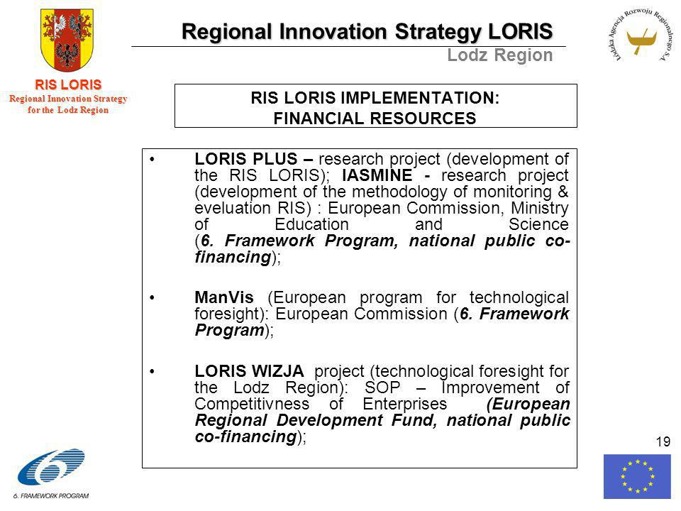 Regional Innovation Strategy LORIS Lodz Region RIS LORIS Regional Innovation Strategy for the Lodz Region 19 RIS LORIS IMPLEMENTATION: FINANCIAL RESOURCES LORIS PLUS – research project (development of the RIS LORIS); IASMINE - research project (development of the methodology of monitoring & eveluation RIS) : European Commission, Ministry of Education and Science (6.