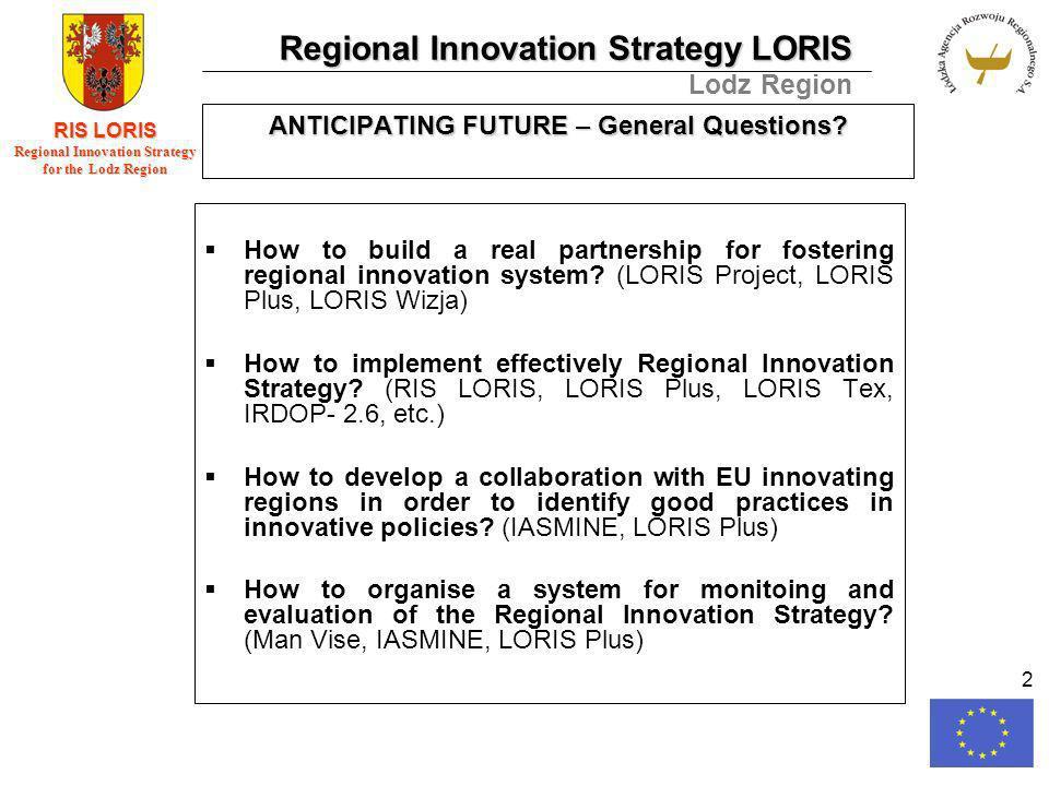 Regional Innovation Strategy LORIS Lodz Region RIS LORIS Regional Innovation Strategy for the Lodz Region 2 ANTICIPATING FUTURE – General Questions.