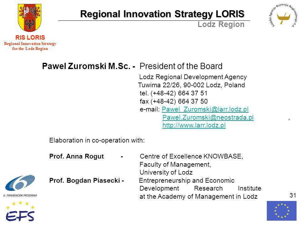 Regional Innovation Strategy LORIS Lodz Region RIS LORIS Regional Innovation Strategy for the Lodz Region 31 Pawel Zuromski M.Sc.
