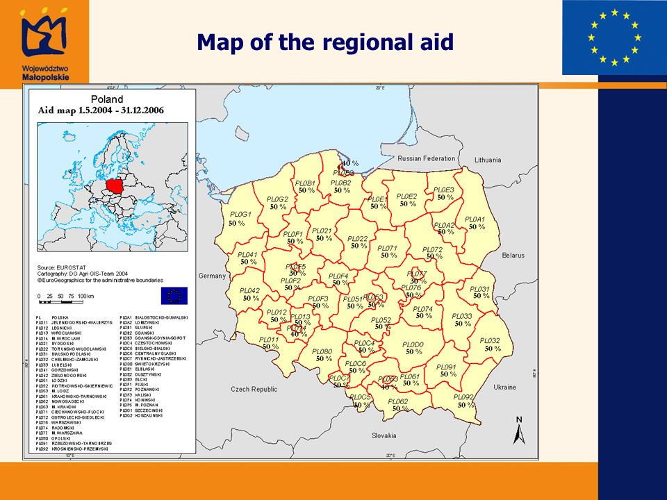 Map of the regional aid