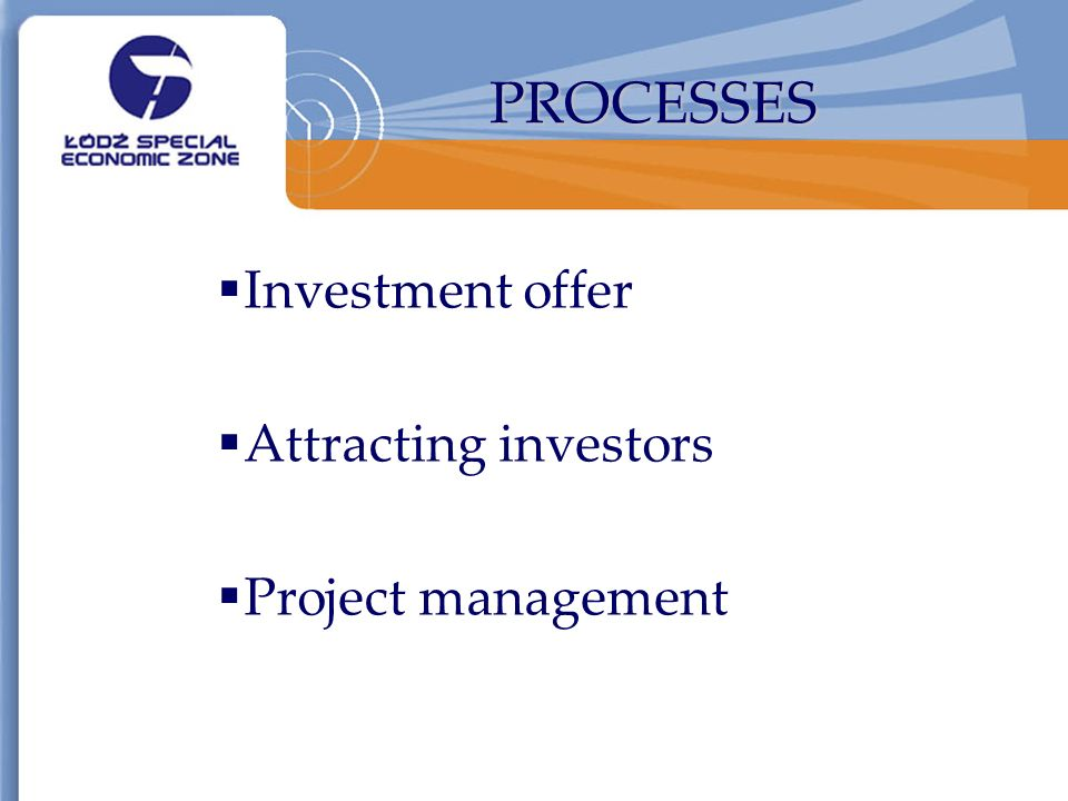PROCESSES Investment offer Attracting investors Project management