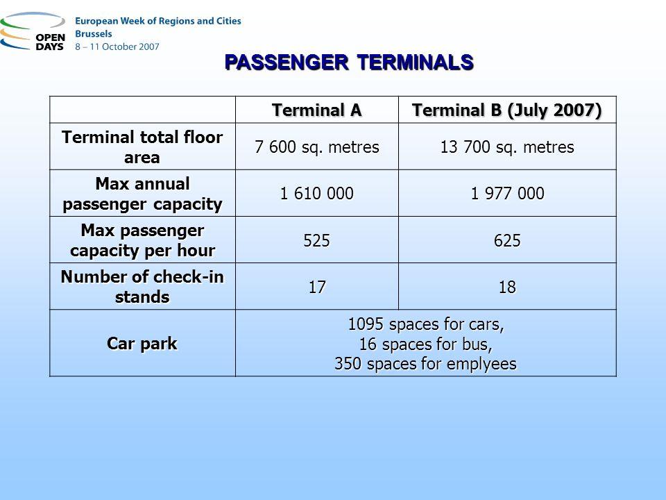 Terminal A Terminal B (July 2007) Terminal total floor area 7 600 sq. metres 13 700 sq. metres Max annual passenger capacity 1 610 000 1 977 000 Max p