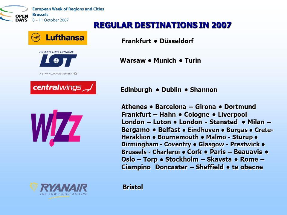 Edinburgh Dublin Shannon Athenes Barcelona – Girona Dortmund Frankfurt – Hahn Cologne Liverpool London – Luton London - Stansted Milan – Bergamo Belfa