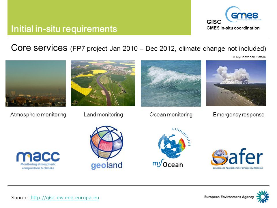 Initial in-situ requirements Core services (FP7 project Jan 2010 – Dec 2012, climate change not included) GISC GMES in-situ coordination Land monitoringAtmosphere monitoringOcean monitoringEmergency response © MyShotz.com/Fotolia Source: http://gisc.ew.eea.europa.euhttp://gisc.ew.eea.europa.eu