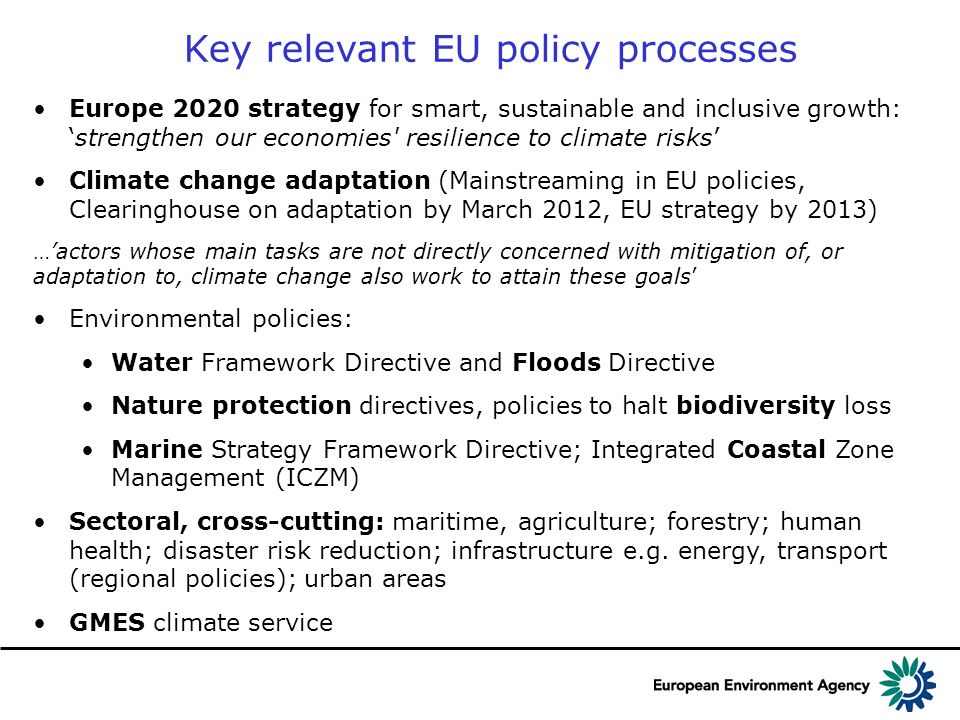 Europe 2020 strategy for smart, sustainable and inclusive growth:strengthen our economies' resilience to climate risks Climate change adaptation (Main