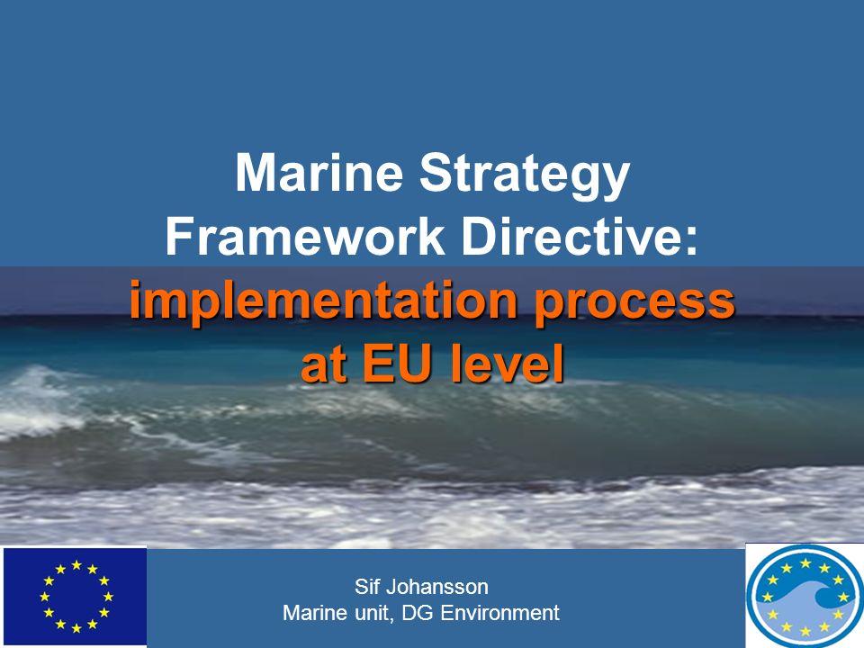 implementation process at EU level Marine Strategy Framework Directive: implementation process at EU level Sif Johansson Marine unit, DG Environment