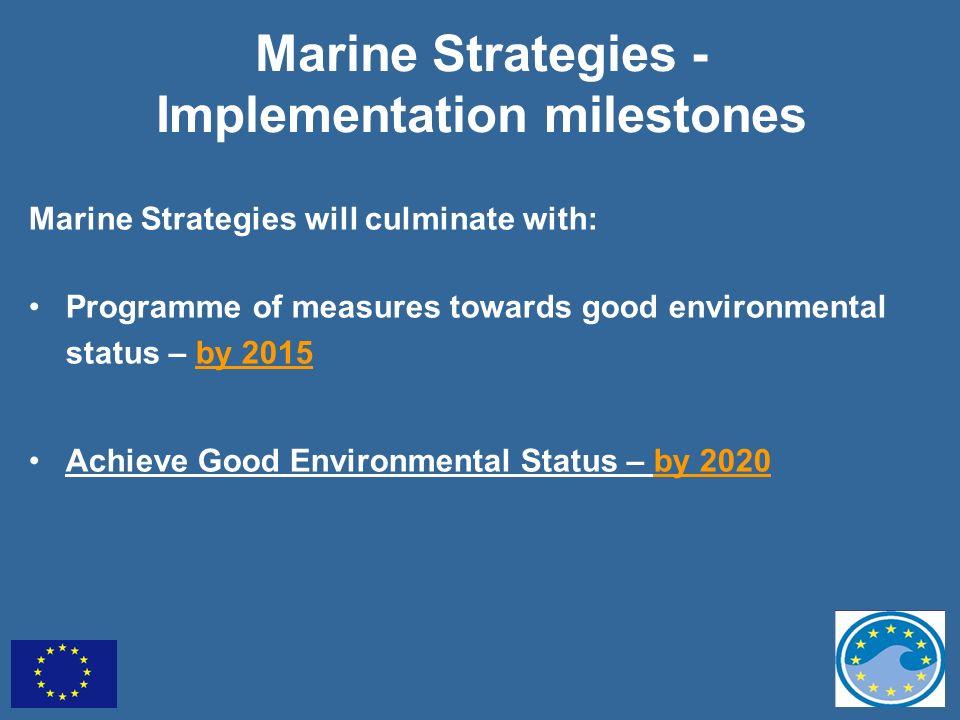 Marine Strategies - Implementation milestones Marine Strategies will culminate with: Programme of measures towards good environmental status – by 2015