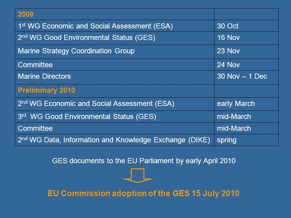 2009 1 st WG Economic and Social Assessment (ESA)30 Oct 2 nd WG Good Environmental Status (GES)16 Nov Marine Strategy Coordination Group23 Nov Committ
