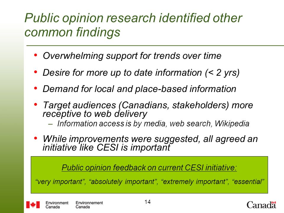 14 Public opinion research identified other common findings Overwhelming support for trends over time Desire for more up to date information (< 2 yrs) Demand for local and place-based information Target audiences (Canadians, stakeholders) more receptive to web delivery –Information access is by media, web search, Wikipedia While improvements were suggested, all agreed an initiative like CESI is important Public opinion feedback on current CESI initiative: very important, absolutely important, extremely important, essential