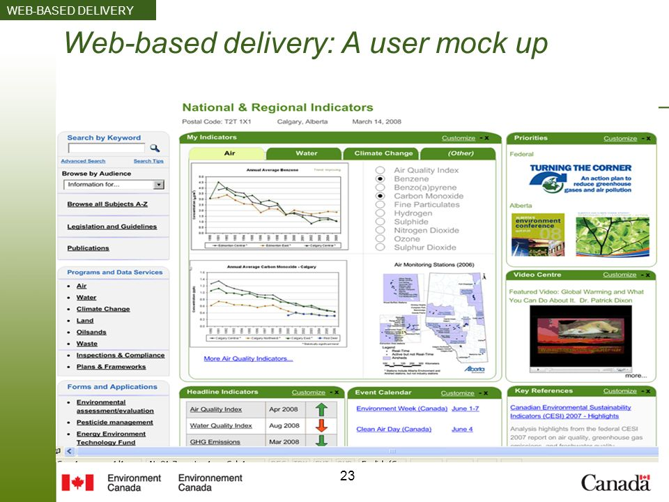 23 Web-based delivery: A user mock up WEB-BASED DELIVERY