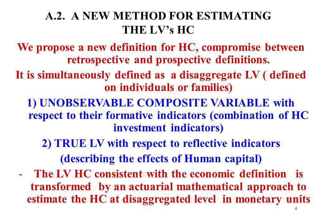 4 A.2. A NEW METHOD FOR ESTIMATING THE LVs HC We propose a new definition for HC, compromise between retrospective and prospective definitions. It is