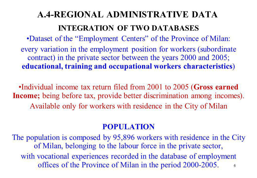 6 A.4-REGIONAL ADMINISTRATIVE DATA INTEGRATION OF TWO DATABASES Dataset of the Employment Centers of the Province of Milan: every variation in the emp