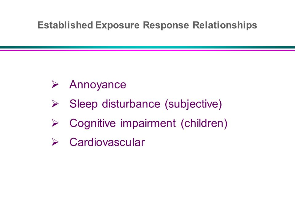 Annoyance Sleep disturbance (subjective) Cognitive impairment (children) Cardiovascular Established Exposure Response Relationships