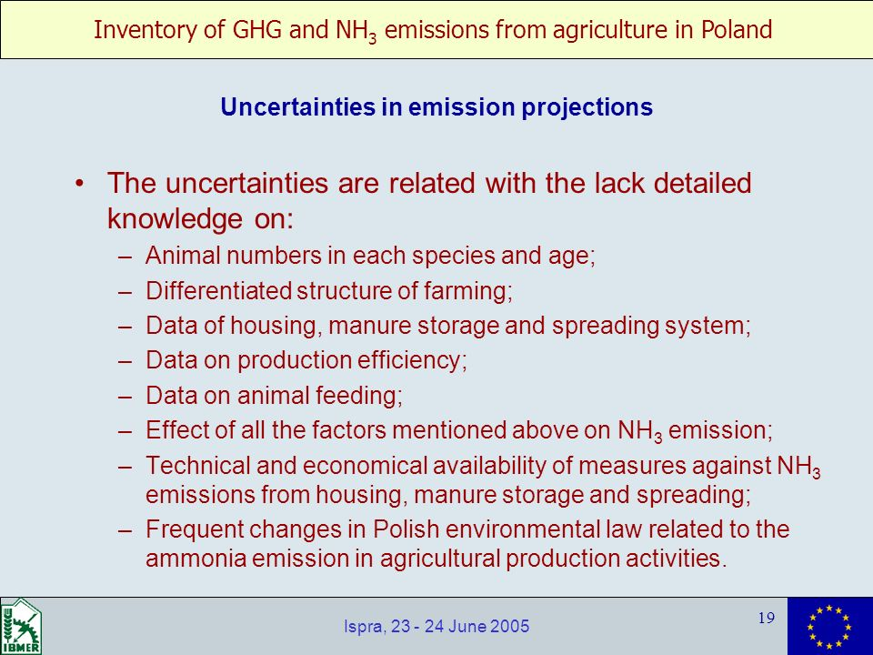 Inventory of GHG and NH 3 emissions from agriculture in Poland 19 Ispra, 23 - 24 June 2005 Uncertainties in emission projections The uncertainties are related with the lack detailed knowledge on: –Animal numbers in each species and age; –Differentiated structure of farming; –Data of housing, manure storage and spreading system; –Data on production efficiency; –Data on animal feeding; –Effect of all the factors mentioned above on NH 3 emission; –Technical and economical availability of measures against NH 3 emissions from housing, manure storage and spreading; –Frequent changes in Polish environmental law related to the ammonia emission in agricultural production activities.