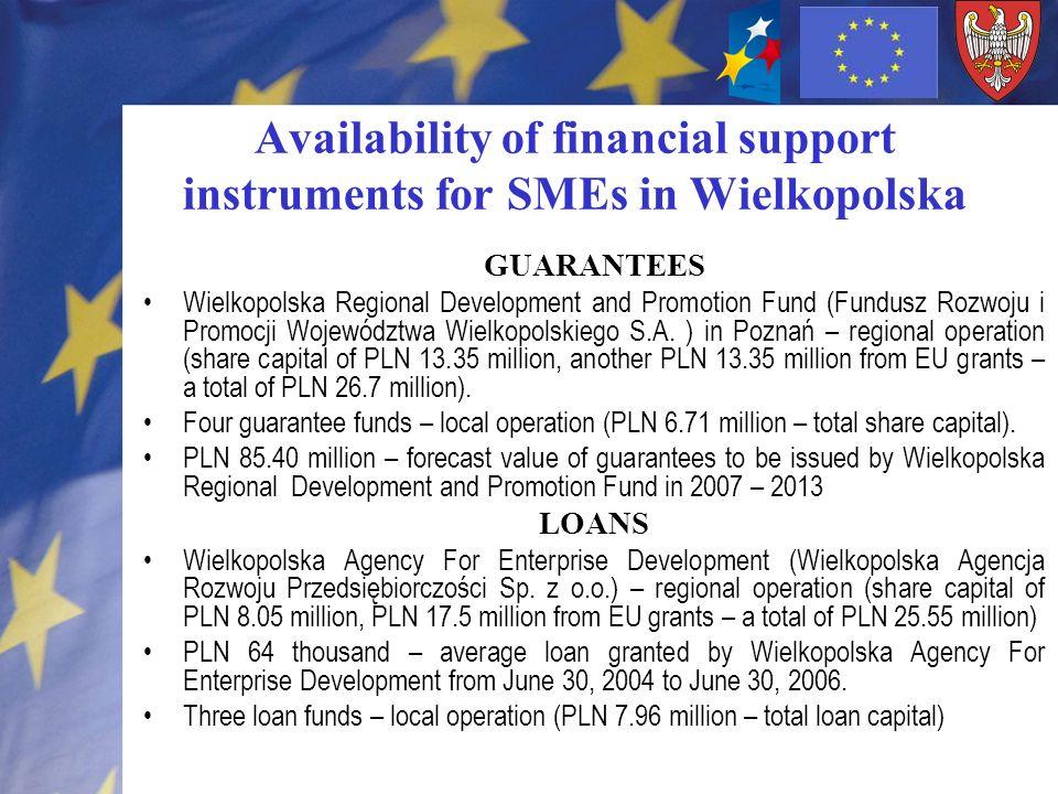Availability of financial support instruments for SMEs in Wielkopolska GUARANTEES Wielkopolska Regional Development and Promotion Fund (Fundusz Rozwoju i Promocji Województwa Wielkopolskiego S.A.