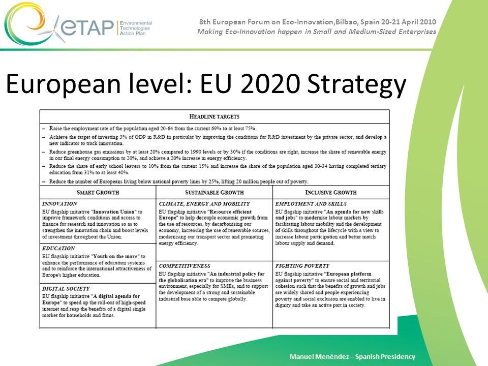 8th European Forum on Eco-Innovation,Bilbao, Spain 20-21 April 2010 Making Eco-Innovation happen in Small and Medium-Sized Enterprises Manuel Menéndez – Spanish Presidency European level: EU 2020 Strategy