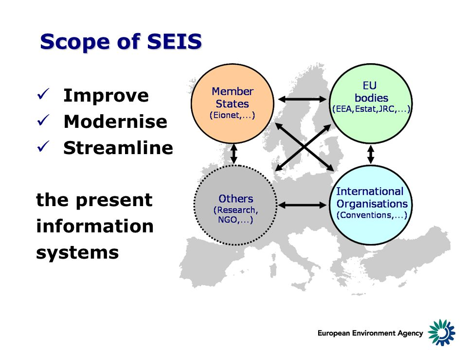 Scope of SEIS Improve Modernise Streamline the present information systems