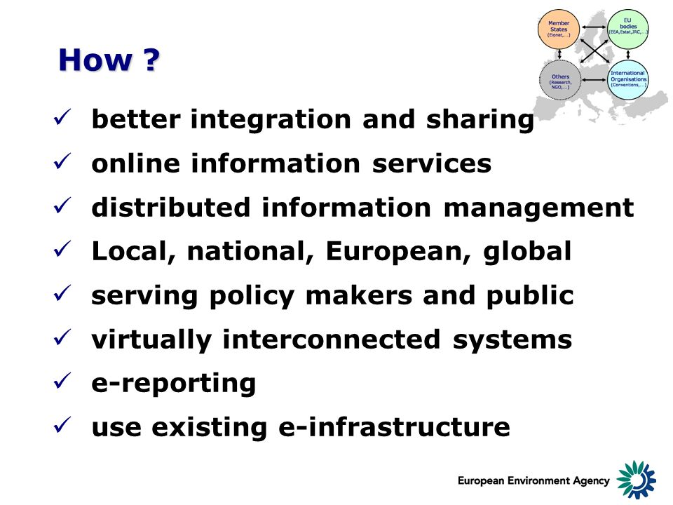 How ? better integration and sharing online information services distributed information management Local, national, European, global serving policy m