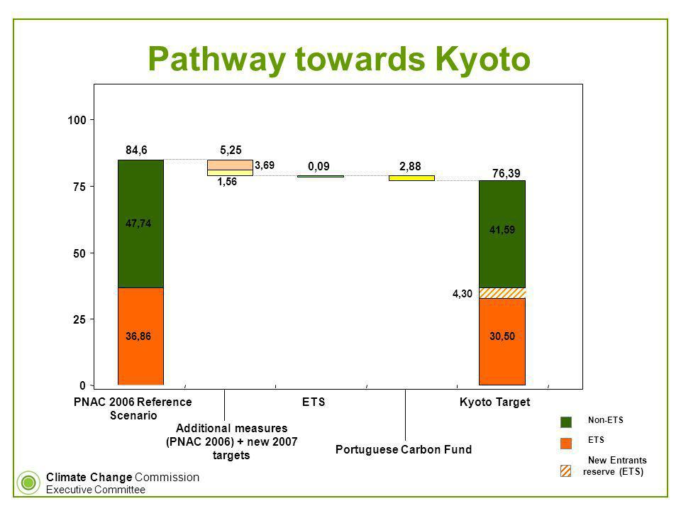 Climate Change Commission Executive Committee Pathway towards Kyoto PNAC 2006 Reference Scenario ETSKyoto Target Additional measures (PNAC 2006) + new 2007 targets Portuguese Carbon Fund Emissões estimadas para 2010 (PNAC 2006) 36,86 4,30 47,74 41,59 1,56 30,5036,86 2,88 3,69 0 25 50 75 100 84,6 5,25 76,39 0,09 New Entrants reserve (ETS) Non-ETS ETS
