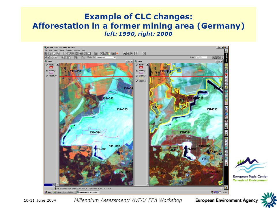 10-11 June 2004 Millennium Assessment/ AVEC/ EEA Workshop Example of CLC changes: Afforestation in a former mining area (Germany) left: 1990, right: 2