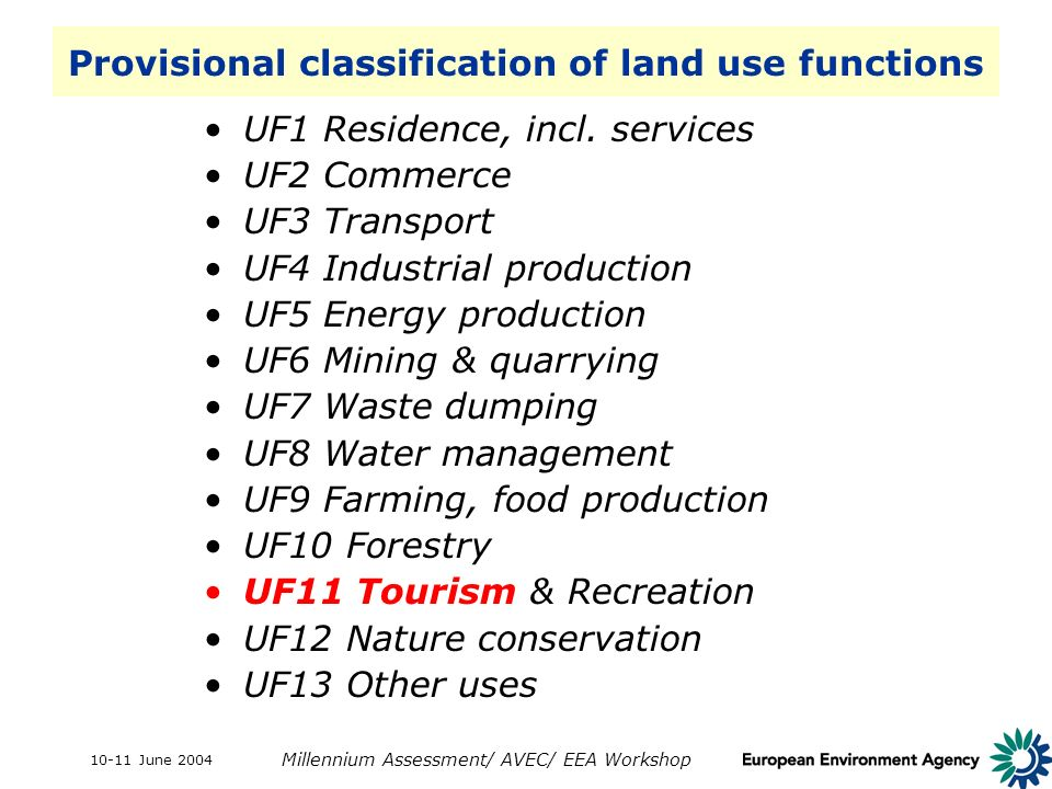 10-11 June 2004 Millennium Assessment/ AVEC/ EEA Workshop Provisional classification of land use functions UF1 Residence, incl. services UF2 Commerce