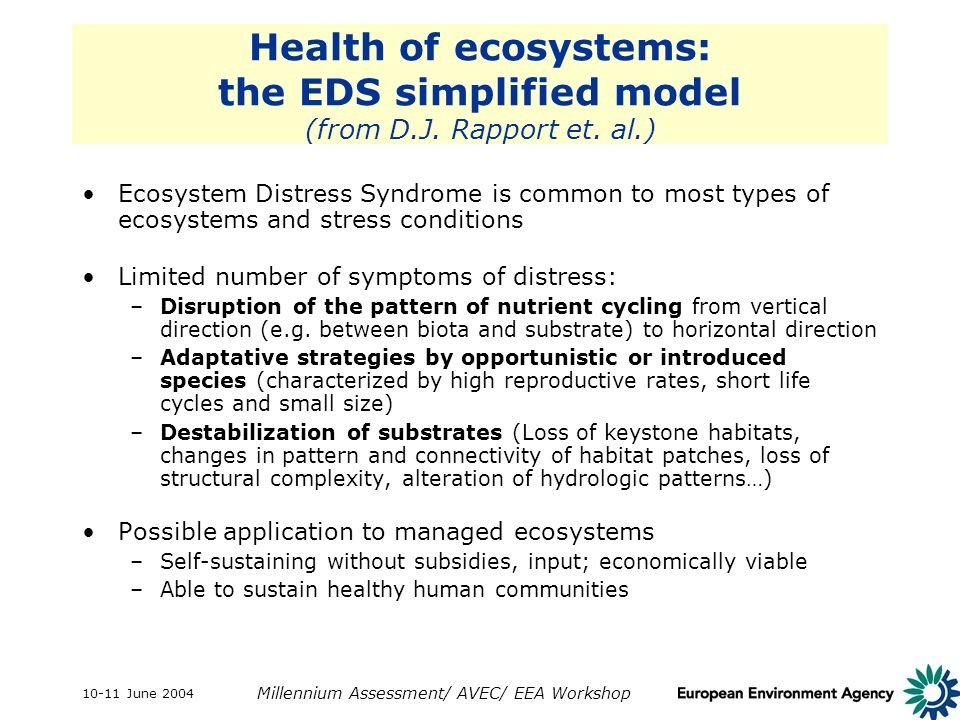 10-11 June 2004 Millennium Assessment/ AVEC/ EEA Workshop Health of ecosystems: the EDS simplified model (from D.J. Rapport et. al.) Ecosystem Distres