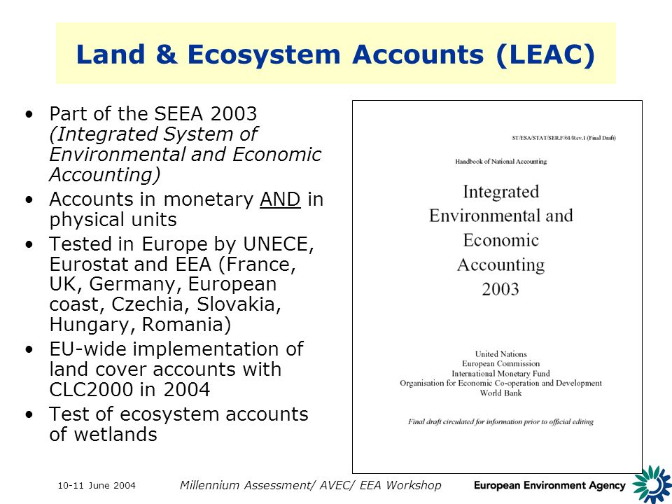 10-11 June 2004 Millennium Assessment/ AVEC/ EEA Workshop Land & Ecosystem Accounts (LEAC) Part of the SEEA 2003 (Integrated System of Environmental a