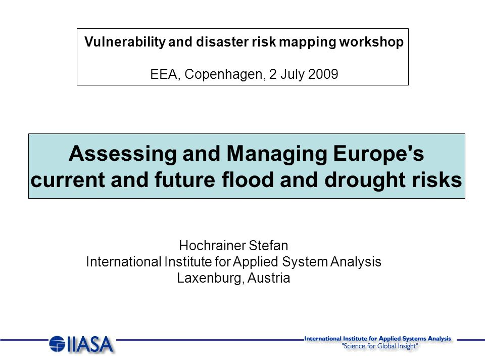 Odra Flood, 1997: 5.0 billion Euro losses, 0.8 billion Euro insured losses 300.000 people evacuated Flooding, 2002: 14.4 billion Euro losses, 3.4 billion Euro insured losses 400.000 people evacuated Large Scale Events: * * Source: CRED, 2008 Point of Departure