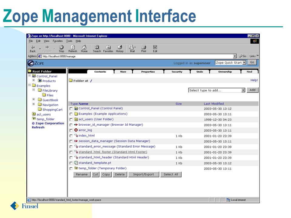 Zope Management Interface